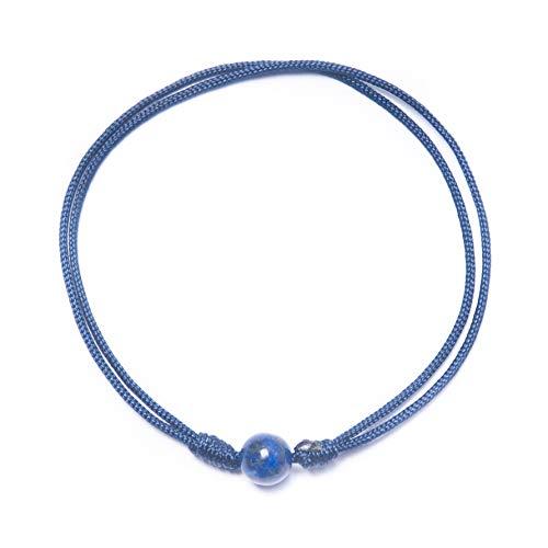 Bow, Pulsera Lapislázuli (6mm) Hilo Nylon Especial Buena Energía y Sanador a Nivel Mental, Espiritual y Físico