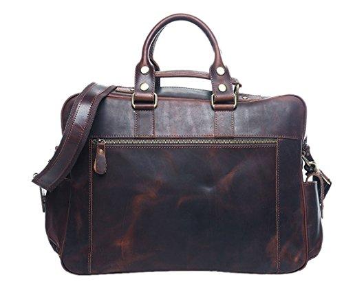 insum hommes Sacoche pour ordinateur portable en cuir de sac à main Marron - Carzy Horse Coffee