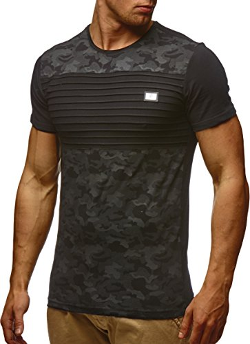 LEIF NELSON Herren T-Shirt Hoodie Longsleeve Kurzarm Shirt Sweatshirt Rundhals Camouflage LN405; Größe M, Schwarz (Kurzarm-shirt-jacke)