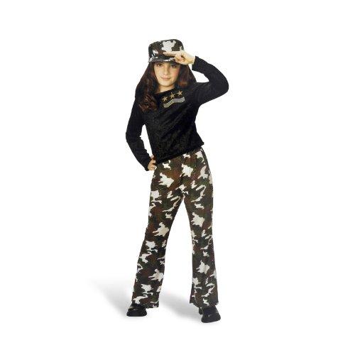 Army Girl Kostüm Mädchen 3-teilig Hose Shirt Kappe für Karneval und Mottoparty - (Kostüm Kinder Army)