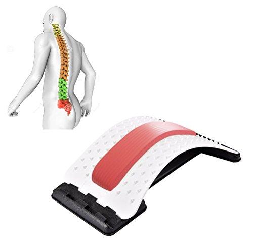 JIAL-SMEIL Masajeadores de Espalda para enderezar la Espalda y Las lumbares, Dispositivo de Estiramiento Lumbar,Alivio de Dolor de Espalda ciática,Hernias discales ([Panel Blanco] - Rojo)