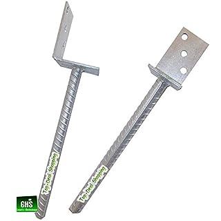ghs 4-er Set Betonanker Pfostenträger L-Form mit Steindolle, 40 cm lang