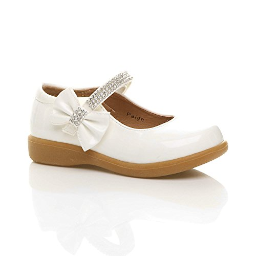 Girls kids childrens low heel mary jane strap bow party bridesmaid shoes size 2