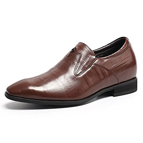 CHAMARIPA Elevator Shoes Mens Smooth Leather Slip on Loafers Height Increasing Shoes - 2.76 inches Taller - H62D09K061D