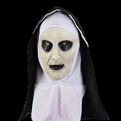 jiyaoqiang Nonnen Maske Halloween Horror Beängstigend Weibliche Geist Kopf Set Urlaub Party Ganze Requisiten