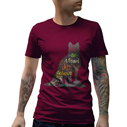 A309MCNTM Herren T-Shirt Don't Be Afraid Religion Just Believe Mark 5:36 Heaven Hell Jesus Bible Faith Cult Cross Skull Bones Dead Alive(Small,Maroon) -