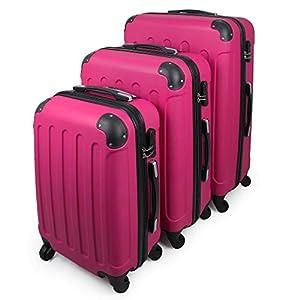 Todeco – Juego de Maletas, Equipajes de Viaje – Material: Plástico ABS – Tipo de Ruedas: 4 Ruedas de rotación de 360 ° – Esquinas protegidas, 51 61 71 cm, Fucsia, ABS
