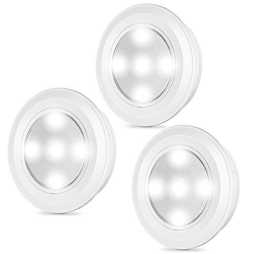 3er-Set drahtlose LED Touch Schrankleuchten, Kohree Batteriebetrieben selbstklebend Küchenlampen, Weiß -
