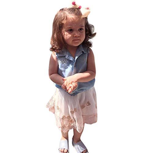 HEETEY Mädchen Outfits Kleinkind scherzt Baby-Mädchen-Denim-T-Shirt Tops Clothes + Skater Kleid Rock Outfits Set Jeans-Rockanzug aus Jeanshemd