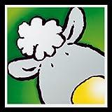 Bild mit Rahmen Jean Paul Courtsey - Sheep - Holz schwarz, 30 x 30cm - Premiumqualität - Kinderwelten, Comic, Schaf, Kinderzimmer, Kindergarten, Hort - MADE IN GERMANY - ART-GALERIE-SHOPde