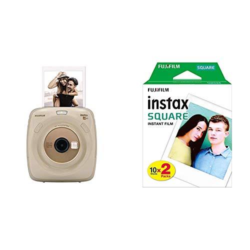 Fujifilm Instax Square SQ20 Beige Appareil photo instantané Beige/Noir &  Film INSTAX Square WW (10X2 PK) Kit de 2 Films 10 Vues Blanc