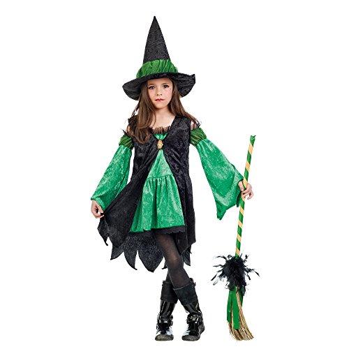 Kleine Hexe Märchen Kostüm Kinder grün Kleid mit Hexenhut - 5/7 Jahre (Frau Magierin Kostüm)