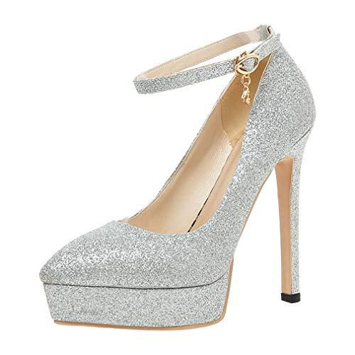 Vitalo donna scarpe decolte eleganti plateau a punta da sposa cinturino a caviglia con alto tacco a spillo(argento,37)