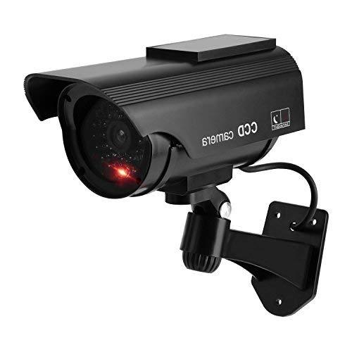 TOROTON Cámara Falsa Dummy Cámara con Energía Solar de Seguridad LED Parpadeante Sistema de Vigilancia Cámara Simulada CCTV