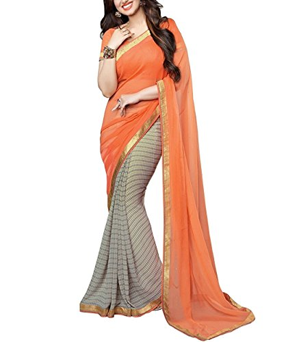 Indian E Fashion Embroidered Orange Half And Half Georgette Saree With Blouse Material For Party wear,Wedding,Casual sarees
