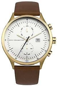 French Connection–Reloj de cuarzo para hombre con esfera analógica blanca y correa de piel bronce fc1266tg de French Connection