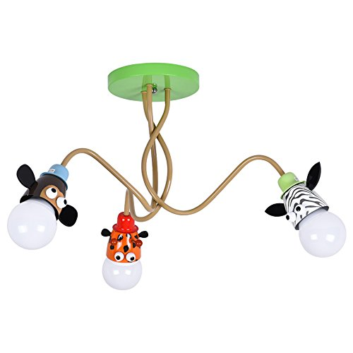 Kronleuchter, Augenschutz Kinderzimmer Führte Deckenleuchte, E27 Kreative Cartoon Lampenfassung, Geeignet Für Beleuchtung Schlafzimmer, Wohnzimmer, Kinderzimmer, Muster: Giraffe, Affe, Zebra AC111-240V [Energieklasse A++]