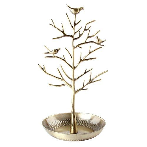 Discoball - Présentoir / support à bijoux - Nouvel antiquité Argent Bronze Oiseaux Arbre Boucle d'oreille Collier Bracelets Porte-bijoux Organisateur suspendu Rack Tower (Antibrass)
