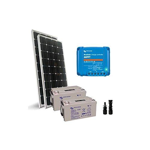 """Kit Solar Pro2 200W 12V 2X Placa Solar 100W + Controlador de carga 10A - MPPT + 2X Batería 60Ah El """"Kit Solar Pro"""" es ideal para la alimentación de cargas de bajo voltaje, tales como lámparas y otros dispositivos de 12V. Puede auto-producir energía ..."""