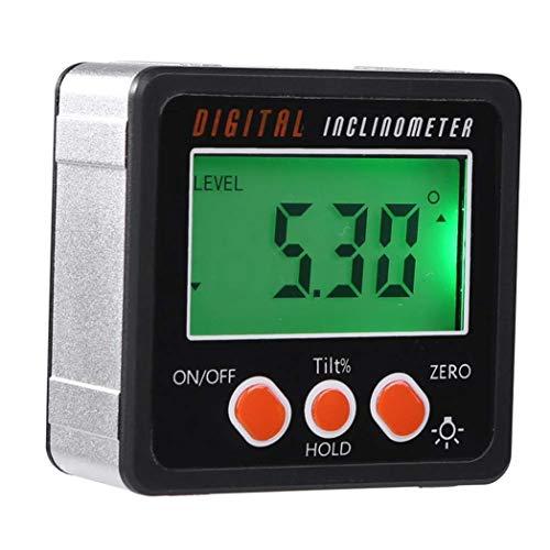 SALAKA 1 STÜCK Schwarz Kunststoff Winkelmesser, Digitale Winkelsucher Bevel Box mit Magnetfuß, Digitale Winkelmesser Neigungsmesser Level Box