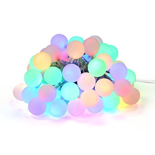 Nipach GmbH LED Partylichterkette Partybeleuchtung Lichterkette für Weihnachten Hochzeit Kindergeburtstag - 50 Leuchtkugeln mit Trafo - innen & außen - bunt
