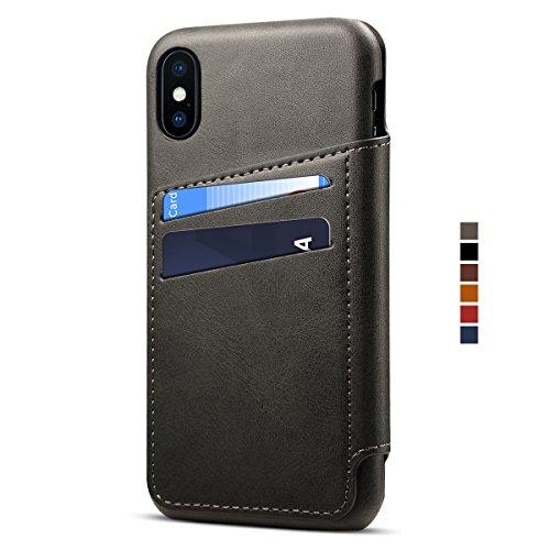 Apple iPhone X Leder Handy Hülle Flip Case Handytasche Cover Schale mit Kredit Karten Fach Geldbörse Geldklammer Leder Handy Schutzhülle,Schwarz
