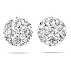 Boucles d'Oreilles Femme Pavage Or Blanc 585/1000 et Diamant Brillant 0.30 Carat F-SI2 - 3mm*3mm
