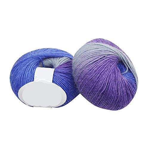 Wolle Zum Stricken & Häkeln Hand Strickgarn Strickwolle, Wollmischung,Farbverlauf Weich Wollgarn Perfekt für Hüte Pullover Schal Decke Strickprojekt - 9 Farben (H) ()