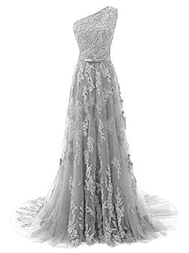 JAEDEN Damen OneShoulder Spitze Ballkleider Lang Perlen Applikation  Abendkleid Festkleid Schleppe Silber