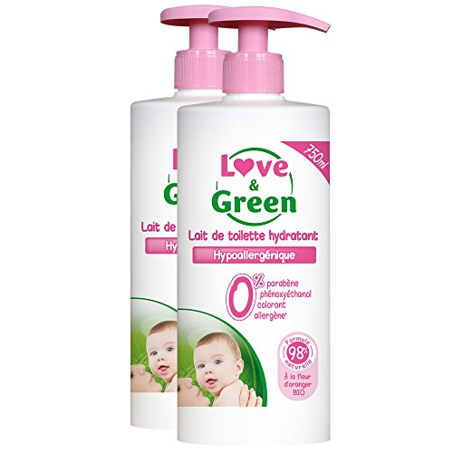 Love & Green - Lait de Toilette Hypoallergénique 750 ml - Lot de 2