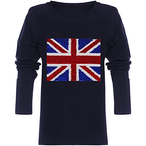 emoji shirt mit wendepailletten BEZLIT Jungen Langarmshirt Pulli Wende-Pailletten Sweat Shirt England 21731 Navy Größe 116