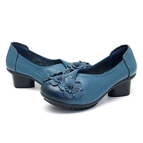 Socofy Damen Pumps, Damen Leder Slipper Klassische Pumps Blume Loafers Metallic Party Schuhe Leder-Optik Ballerinas Vintage Halbschuhe Slip-Ons Herbstschuhe Blau 40 - 4