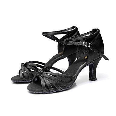 Silence @ pour femme Chaussures de danse latine/Salsa satiné Talon Noir/marron/doré/léopard/autres doré