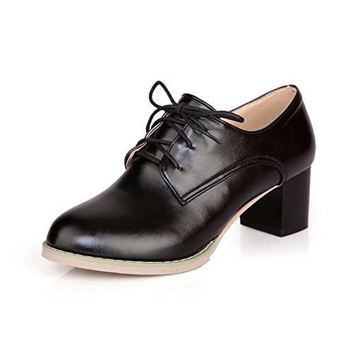 Adee Femme Casual PU Pompes Chaussures Noir - noir