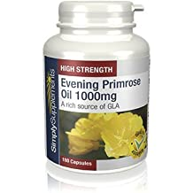 Aceite de Onagra 1000 mg   Mejora la salud del corazón, de la piel y del pelo y el equilibrio hormonal   180 cápsulas  