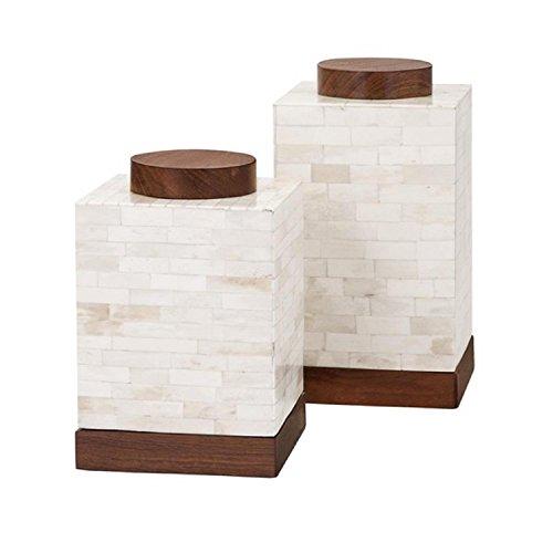 "Set Of 2 Corner Block Creamy White Bone And Wood Canisters 10"""