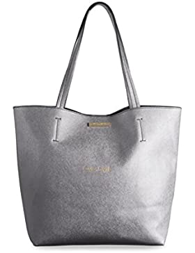 Katie Loxton , Damen Tote-Tasche silber Metallic Charcoal