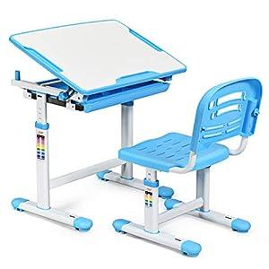 COSTWAY Kinderschreibtisch höhenverstellbar, Schülerschreibtisch Kindermöbel neigungsverstellbar, Kindertisch mit Stuhl…