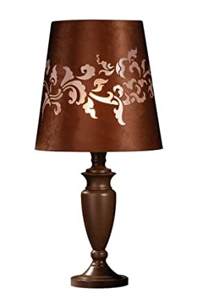 Premier Housewares Valencia Chocolate Metal Feature Lamp with Fabric Laser-Cut Shade