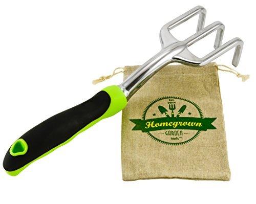 enfräser mit ergonomischem Griff, Handrechen, ideal für Gartenarbeit und Unkrautentfernung, inkl. Sackleinen - tolles Geschenk für den Garten ()