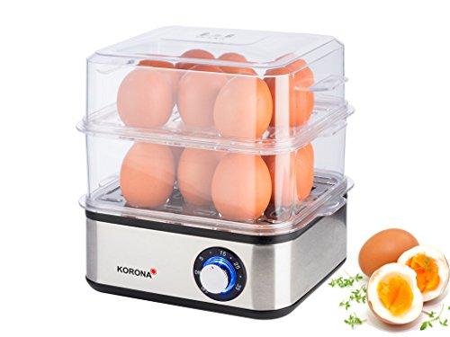 Korona 25303 Edelstahl Mini Dampfgarer und Eierkocher - Kleiner Dämpfer für Gemüse - Profi Kocher für bis zu 16 Eier (Ostern Die Sie Eier Für Kochen)