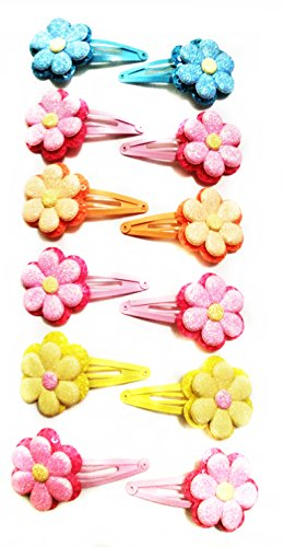 12-horquillas-pelo-metal-tela-4-colores-rosa-amarillo-naranja-azul-diseno-flores-brillos-6-cm-x-4-cm