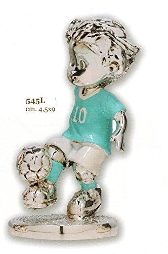 Statuina bambino giocatore calcio squadra lazio cm 4,5x9 smaltata laminato argento made in italy