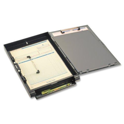 Officemate - Carpeta para documentos con cierre de clip (metal, tamaño A4, apertura lateral), color gris y negro