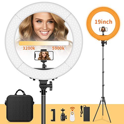 FOSITAN 19-Zoll LED Ringlicht, 60W Bi-Farbe Dimmbare 3200-5900K Ring Licht Set mit 2M Lampenstativ, Bluetooth-Empfänger für Smartphone, für YouTube Vlog Makeup Videoaufnahmen Porträt Selfie -