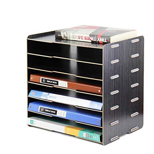 WJYLM File Organizer/Porta file, Organizer per scrivania in legno, File Rack Organizer per archiviazione Scaffale per scrivania multifunzione multifunzione quadrato, nero