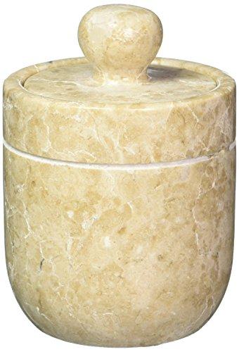Creative Home 74729 Seifenspender, echter Marmor, Champagnerstein Behälter für Wattebällchen beige -