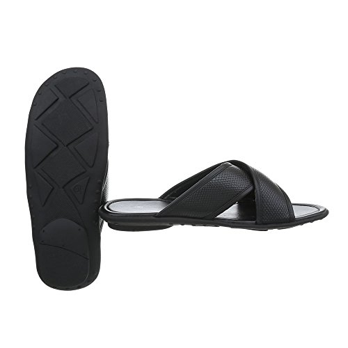 Ital-Design Pantoletten Herrenschuhe Pantoffeln Pantoletten Sandalen Schwarz