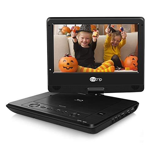 Blu-ray DVD Player Auto Portable Fernseher mit 10,1 Zoll HD Monitor Tragbarer Bildschirm HDMI Anschluss für Kinder Mama unterstützt AVI MP4 Full 1080P Video für Urlaub Camping Zuhause Schwarz CUTRIP