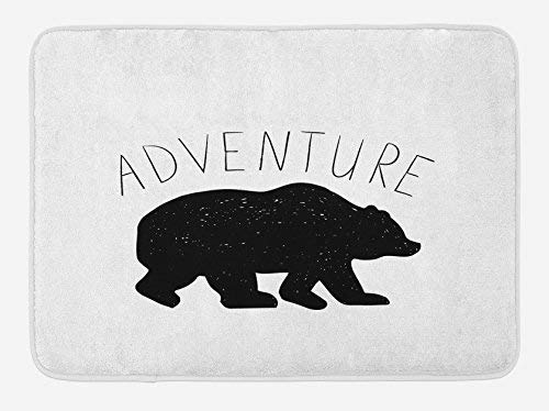 St574ony Bath Rug Adventure Bath Mat, Black Silhouette of A Wild Bear Zoo Animal Nature Passion Hipster Design, Plush Bathroom Decor Mat, 16x 24 Inches, Charcoal Grey White -